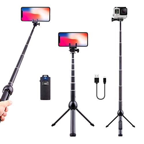 Selfie Stick Tripod Bluetooth, LATZZ 45 Inch Phone Tripod, Extendable iPhone Stand Tripod with Wireless Remote Shutter Compatible iPhone 11Pro/Xs MAX/XR/X/8/8P/7/7P/6/6P/Galaxy Note 8/S10/S9+/S9, More