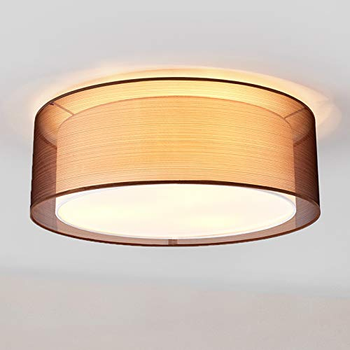 Lindby Deckenlampe \'Nica\' dimmbar (Modern) in Braun aus Textil u.a. für Wohnzimmer & Esszimmer (3 flammig, E27, A++) - Deckenleuchte, Lampe, Wohnzimmerlampe