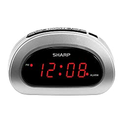 SHARP Small Digital Alarm Clock with Snooze and Battery Backup, Easy to Use Top Button Controls, Silver Case with Red LED Display