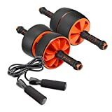 TFE Adjustable Ab Roller - Reversible Ab Carver Exercise Wheel with Nonslip Handle, Fat Tires for Stability - Ideal for Core Exercises, Bodyweight Home Workouts - Jump Rope Included - Made in Taiwan