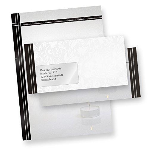 Briefpapier Set Trauer (500 Sets MIT Fenster) Set mit Briefbögen A4 und passende Trauerumschläge MIT FENSTER (auch ohne Fenster erhältlich)