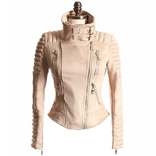She'sModa Suede Padded Shoulder Slim Women's Punk Motorcycle Zipper Jacket Winter Coat M Khaki