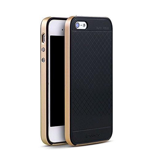 meincover iPhone SE 55S Custodia, Ipaky, Hybrid Dual Layer Cornice Metallizzati Tasti