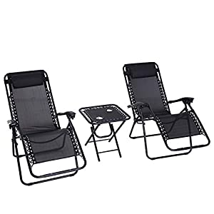 Outsunny 3 Piece Zero Gravity Chair Set with Table - Black