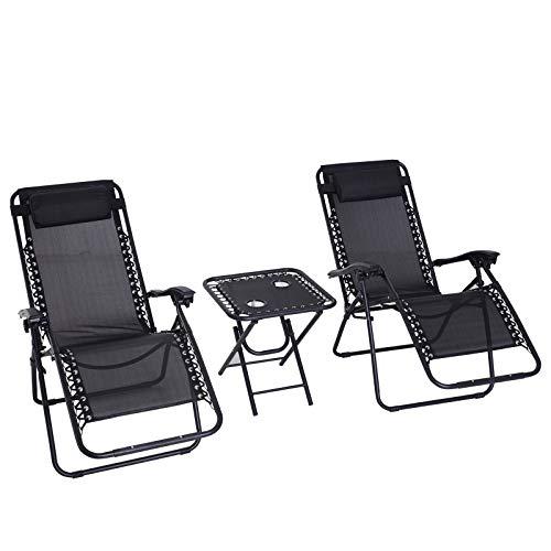 Outsunny 3pcs Folding Zero Gravity Chairs Sun Lounger Table