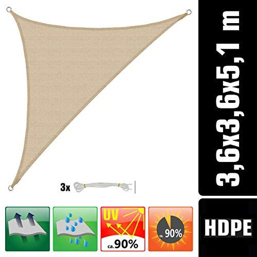 AMANKA UV Sonnensegel 3,6x3,6x5,1 HDPE Dreieck Rechtwinklig Sonnenschutz Plane Balkon Garten Beige
