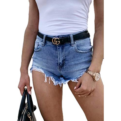 Pantaloncini di Jeans Strappati Sexy Moda Donna Pantaloncini di Jeans lavati Strappati Strappati Casual Tinta Unita Estiva Large