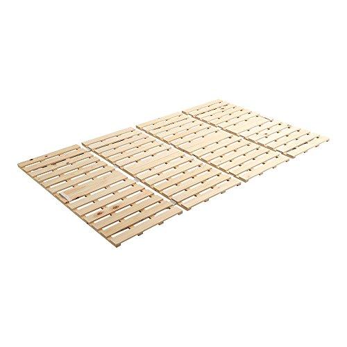 ヒノキのすのこベッド すのこマット ダブル 4つ折り 折り畳み 四つ折り 檜 木製 湿気対策 スノコ オールシーズン使えるすのこベッド 梅雨や冬の時期にも 省スペース フロアベッド ローベッド