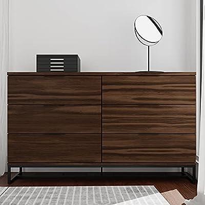 Edenbrook Preston 6DrawerDresser -Storage Chest - Modern Design - Easy Assembly - Multiple Colors, Rustic Mahogany