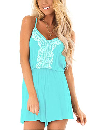 LACOZY Womens Casual Loose Embroidered V Neck Spaghetti Strap Waist Drawstring Short Romper Jumpsuit Light Blue X-Large 16-18