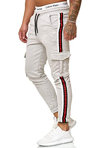 OneRedox Herren | Jogginghose | Trainingshose | Sport Fitness | Gym | Training | Slim Fit | Sweatpants Streifen | Jogging-Hose | Stripe Pants | Modell 1224 Grau L