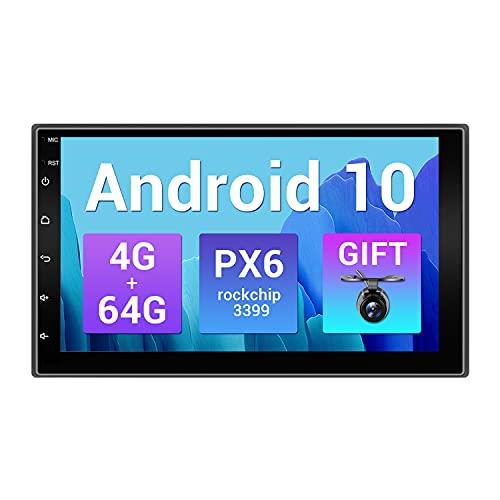 SXAUTO PX6 Android 10 Autoradio Stereo Navigation - [4G+64G] - Camera GRATUITI -Supporto DAB HDMI 4K-Video AHD Bluetooth4.0 Volante 4G WiFi Carplay Android Auto - GPS 2 Din - 7 Pollici 2.5D Schermo