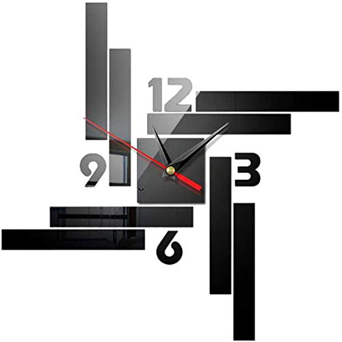 XinLuMing Reloj de Pared, Tranquilo, preciso, Relojes de Pared 3D, Reloj de Pared Moderno, decoración para la decoración de la Oficina en el hogar (Color : A)