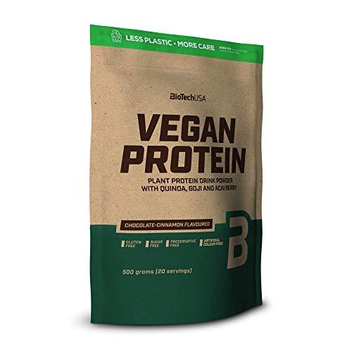 BioTechUSA Vegan Protein, Aromatisiertes, pflanzliches Protein-Getränkepulver mit Goji- und Açaí-Beeren-Pulver und Quinoamehl, 500 g, Schokolade-Zimt