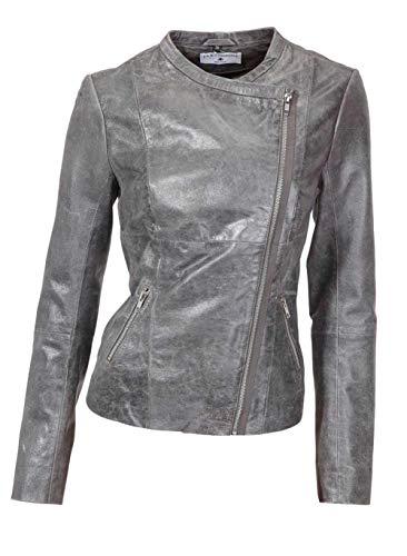 RICK CARDONA Designer-Lammnappa-Lederjacke, grau-Silber (38)