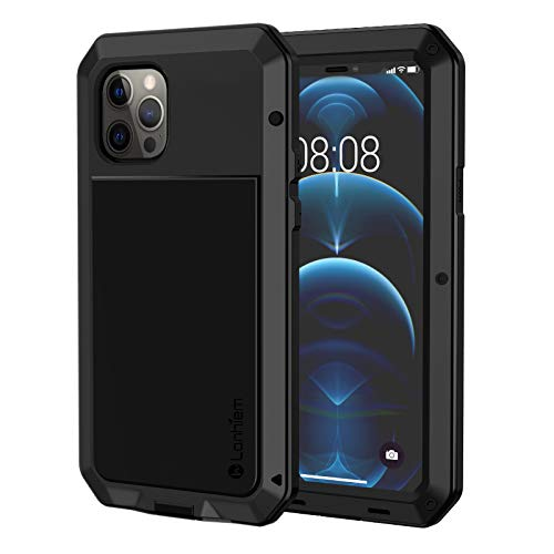 Lanhiem Metal Case for iPhone 12/12 Pro Case (6.1 inch), Heavy Duty Shockproof [Tough Armour] Metal Case with Built-in Glass Screen Protector, 360 Full Body Dust Proof Protective Cover, Black
