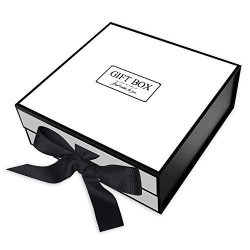 Geschenkbox großes Rechteck JIAWEI - 28x28x10cm mit Deckeln und Magnet -Verschluss für Hochzeiten Geburtstagsgeschenk und Baby -Brautjungfer FSA Geschenkbox mit einer Grußkarte und Tissue Paper.