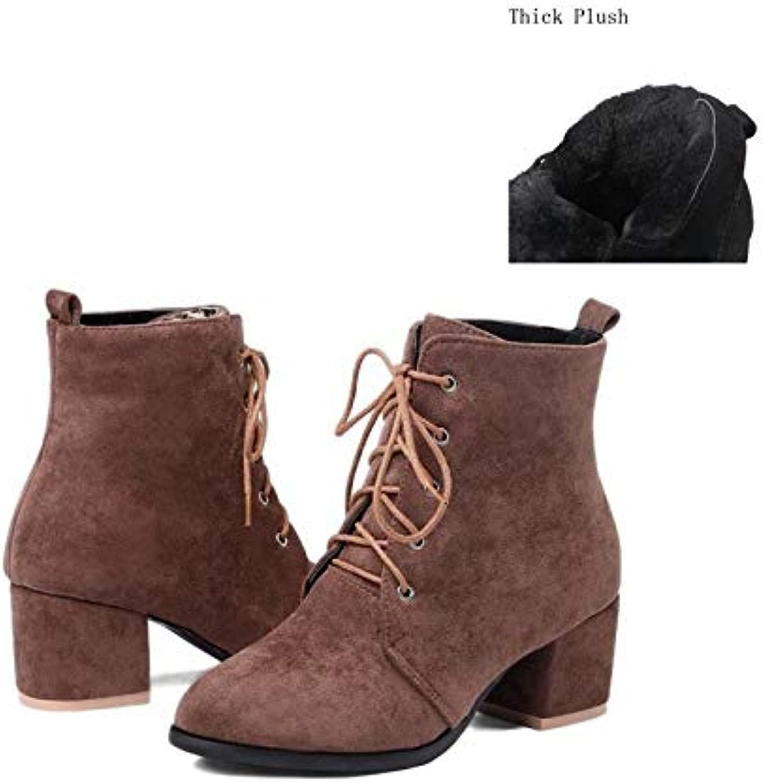 MENGLTX High Heels Sandalen Big Größe 32-45Utumn Warme Winternkle Stiefel Frauen Schnüren High Heels Party Hochzeit Kurze Stiefel 12 Braun