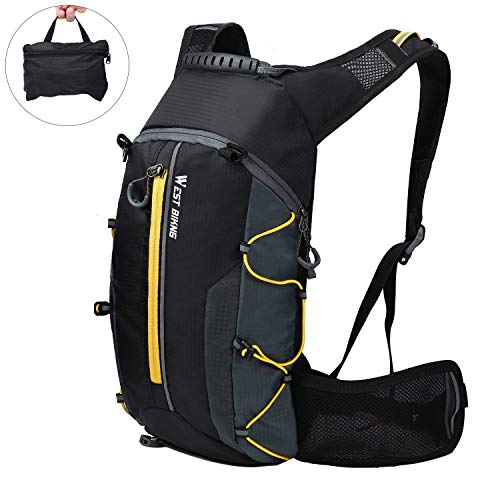 kedejianzhucailiaomena Mochila de ciclismo impermeable, mochila de ciclismo plegable mochila de bicicleta de montaña amarilla