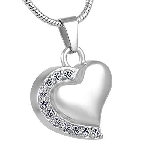 Urna de cremación de Acero Inoxidable con Forma de corazón, Recuerdo de Cenizas, Colgante conmemorativo, Collar de Cristal para Mujer y Hombre