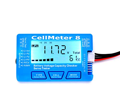 RC CellMeter 8 Digital Battery Capacity Checker Battery Voltage Tester LCD Backlight for LiPo Life Li-ion NiMH Nicd (Nasa Bm1 Battery Monitor Best Price)