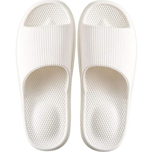 Youdiao Zapatillas de masaje antideslizantes para mujer Zapatillas de interior de EVA Zapatillas de baño ligeras para casa para mujer Sandalias impermeables para hombre Toboganes de baño-Blanco, 38-39