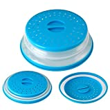 Nifogo Tapa Plegable para Microondas,Tapa microondas Plegable Colador,sin BPA y no tóxico,Salpicaduras,para Lavar Frutas (Azul)