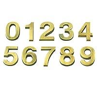 LIOOBO デジタルナンバープレート看板デジタル看板メッキ番号部屋ゲート番号ハウスホテルのドアモダン-(10個0-9、1個各番号5 cmゴールデン)