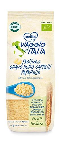 Mellin Viaggio d'Italia, Pastina Di Grano Duro Cappelli Bio, Paperelle - 8 Confezioni Da 320 gr