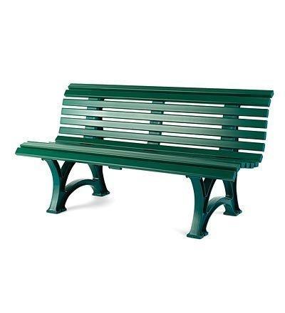 Plow & Hearth German-Made, Weatherproof Resin 3-seat Garden Bench, in Green
