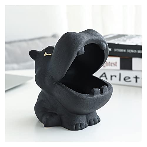 OMING cenicero Cenicero cerámico Creativo Lindo hogar de Almacenamiento de hogar Personalidad Simple Personalidad Animal hipopótamo Grande cenicero Negro y Rojo Cenicero de Metal Retro (Color : D)