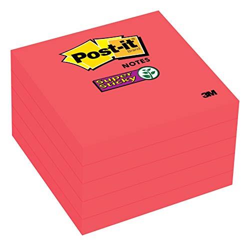 Post-it Super Sticky Notes, 2 x Sticking Power, 7,6 x 7,6 cm, vermelho, 5 blocos/pacote (654-5SSRR), açafrão
