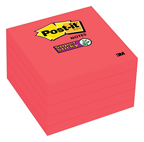 Post-it Super Sticky Notes, 2x Sticking Power, 3 x 3-Inches, Red, 5-Pads/Pack (654-5SSRR)