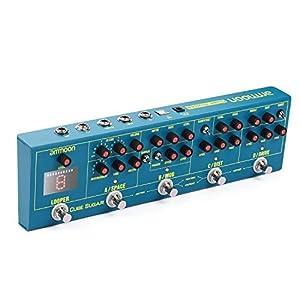 ammoon Multieffekt Effektpedal 5 Analoge Effekte (Boost/Overdive/Distortion/Chorus/Phaser) + 2 Digitale Effekte (Delay/Reverb) + 72 IR Cabinets Simulation + 9 Loop