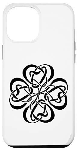 iPhone 12 Pro Max Black Celtic Knot Shamrock Irish Four Leaf Clover Case