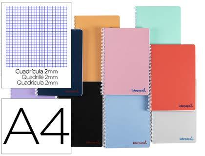 Cuaderno espiral liderpapel a4 wonder tapa plastico 80h 90gr milimetrado 2mm con margen colores surtidos. (10 Unidades)
