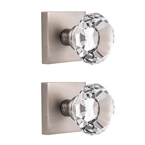 HIEMEY 2 pomos de puerta de níquel satinado, doble maniquí de níquel satinado, con forma de diamante, para pasillo y clóset, BS-004