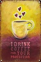 コーヒーを飲む 金属板ブリキ看板警告サイン注意サイン表示パネル情報サイン金属安全サイン