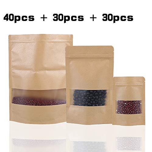 100 Stücke Wiederverwendbare Ziplock Grip Seal Taschen Wasserdichte Kraftpapier Tasche mit Transparentem Fenster Frischhaltedosen Verpackungsbeutel für Kaffeebohnen Teeblatt und Snacks