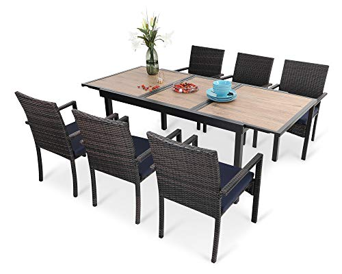 PHI VILLA 7 Piece Outdoor Dining Table Sets, Expandable Rectangular Metal Table with Wood Like Tabletop and 6 Rattan Chairs for Patio, Deck, Balcony, Yard