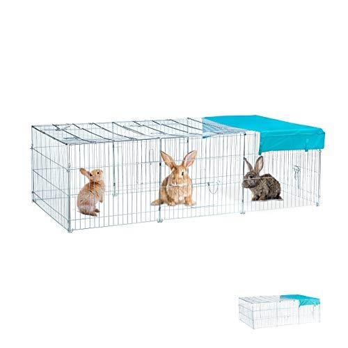 Relaxdays Freilaufgehege Kaninchen XL, mit Abdeckung, Sonnensegel, großes Outdoor Freigehege, HBT 65x112x216cm, verzinkt
