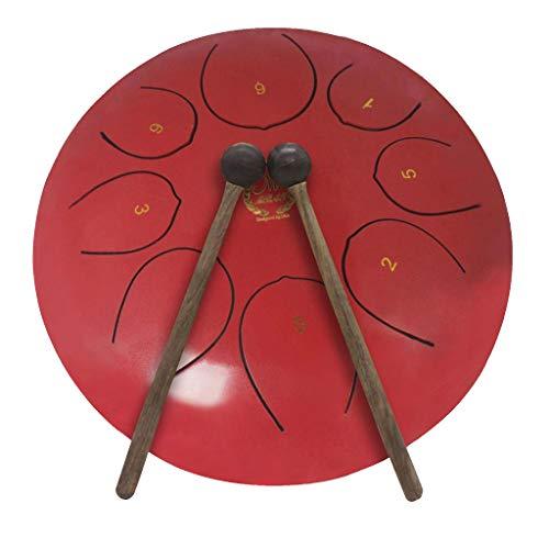 gazechimp Stahl Drum 10 Zoll 25cm Handpan Tankdrum Zungentrommel Schlitztrommel mit 8 Ton-Skala ideal für Camping, Yoga, Meditation - Rot