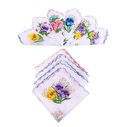 10 Stück Damen Stofftaschentücher Set Größe 28 x 28 cm aus Baumwolle Mehrfarbig