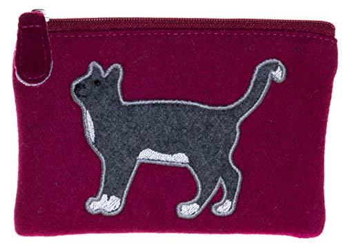 Portafoglio, borsa in feltro, con motivo a gatto, commercio equo e solidale