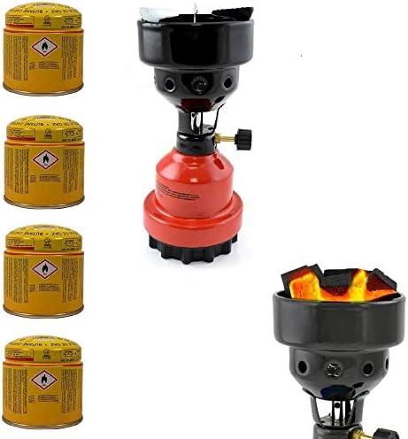 Megaprom - Encendedor de carbón para Camping, Barbacoa, hornillo de Gas, Quemador de carbón con 3 Cartuchos de Gas