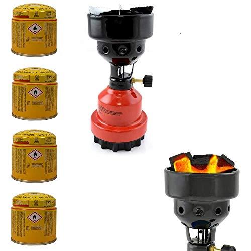 3-in-1 Camping Gaskocher mit Kartusche, Kohleanzünder für Shisha, Campingkocher mit 4X Gaskartuschen, stabiles Metallgehäuse, Rot