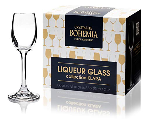 Bohemia - Juego de 6 copas de vino de cristal blanco o tinto de 65 ml, caja de regalo, apta para lavavajillas, transparente perfecto para el hogar, restaurantes y fiestas.