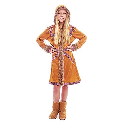 Disfraz Esquimal Niña Vestido Uniforme con Gorro【Tallas Infantiles de 3 a 12 años】[5-6 años] Disfraz Niña Carnaval Nacionalidades Inuit Desfiles Teatro Actuaciones Regalo