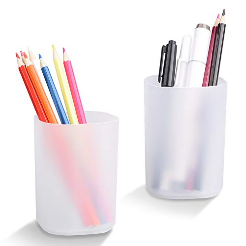 Pen and Pencil Holder, 2 Pack Round Pen Pencil Holder Pen Organizer Desk Office Pencil Holders, Transparent