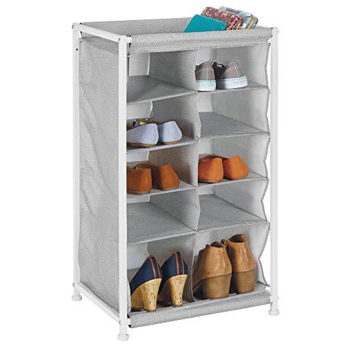 mDesign Mueble zapatero – Práctico organizador de zapatos con estructura de metal para la entrada o el trastero – Estantería guarda zapatos con 10 amplios compartimentos – gris